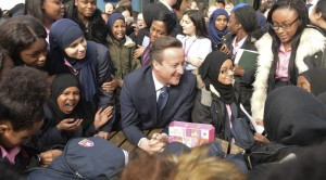 David Cameron visits the Harris Academy Bermondsey where he meets with students and teachers.