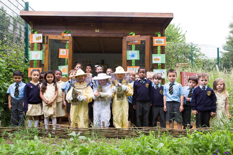 Children from St John's Primary School attend the official opening of the Bee Observation Centre in Stave Hill Ecological Park